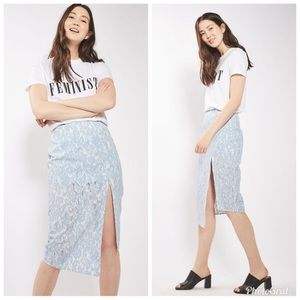 Topshop bonded lace skirt